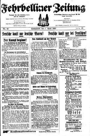 Fehrbelliner Zeitung vom 01.04.1933