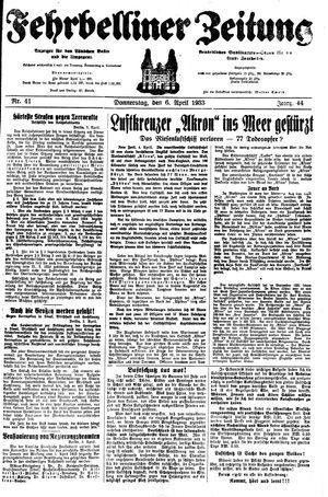 Fehrbelliner Zeitung on Apr 6, 1933
