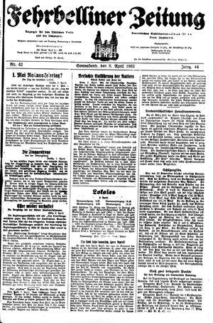 Fehrbelliner Zeitung vom 08.04.1933