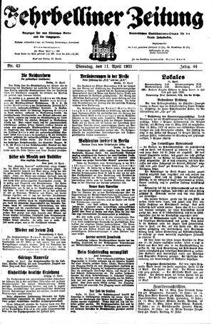 Fehrbelliner Zeitung vom 11.04.1933