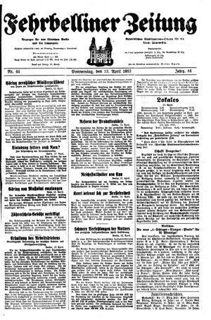 Fehrbelliner Zeitung vom 13.04.1933