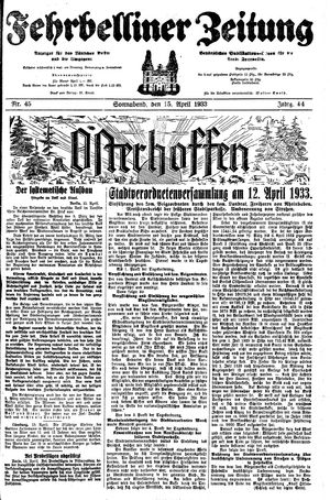 Fehrbelliner Zeitung vom 15.04.1933