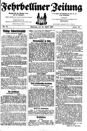 Fehrbelliner Zeitung vom 25.04.1933