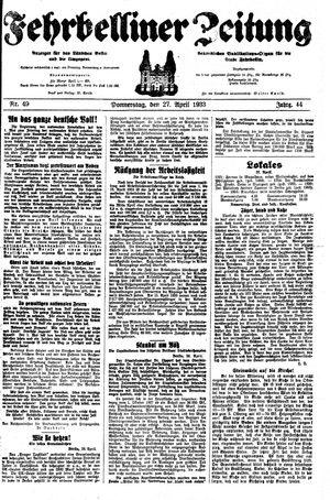 Fehrbelliner Zeitung vom 27.04.1933