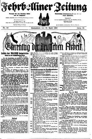 Fehrbelliner Zeitung on Apr 29, 1933