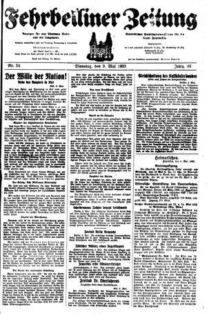 Fehrbelliner Zeitung on May 9, 1933