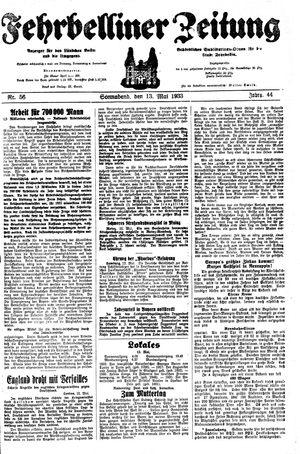 Fehrbelliner Zeitung vom 13.05.1933
