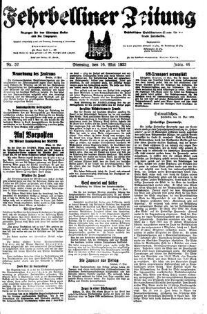 Fehrbelliner Zeitung on May 16, 1933