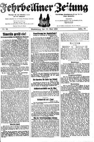 Fehrbelliner Zeitung vom 18.05.1933