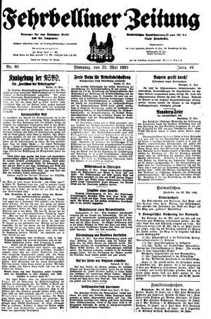 Fehrbelliner Zeitung vom 23.05.1933