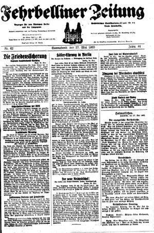 Fehrbelliner Zeitung on May 27, 1933