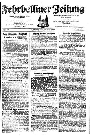 Fehrbelliner Zeitung vom 30.05.1933
