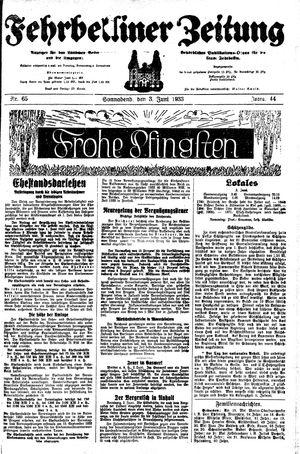 Fehrbelliner Zeitung vom 03.06.1933