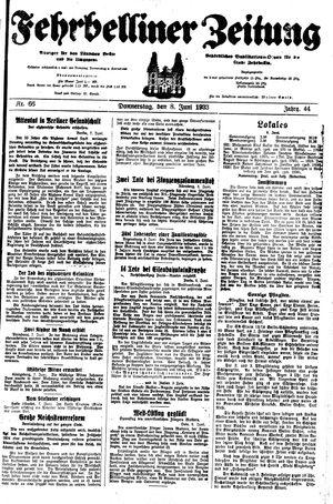 Fehrbelliner Zeitung vom 08.06.1933