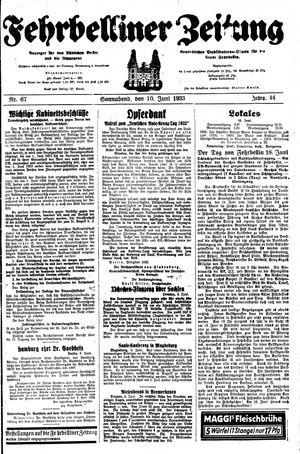 Fehrbelliner Zeitung on Jun 10, 1933