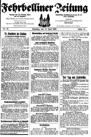 Fehrbelliner Zeitung vom 13.06.1933