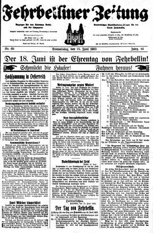 Fehrbelliner Zeitung vom 15.06.1933