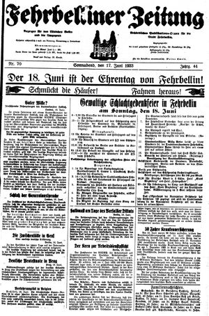 Fehrbelliner Zeitung vom 17.06.1933