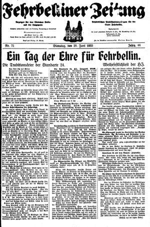 Fehrbelliner Zeitung vom 20.06.1933