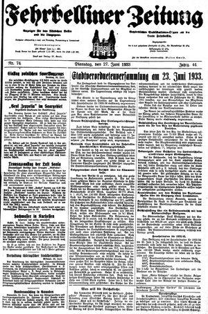 Fehrbelliner Zeitung vom 27.06.1933