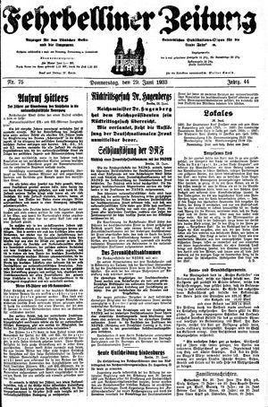 Fehrbelliner Zeitung vom 29.06.1933