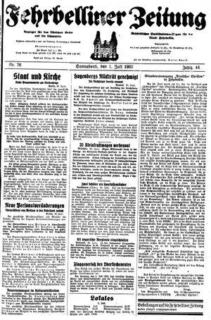 Fehrbelliner Zeitung vom 01.07.1933
