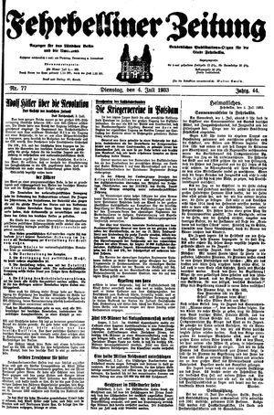 Fehrbelliner Zeitung vom 04.07.1933