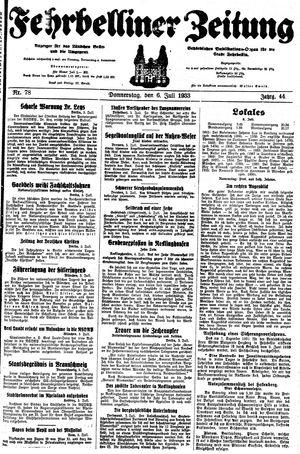 Fehrbelliner Zeitung vom 06.07.1933