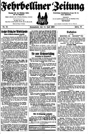 Fehrbelliner Zeitung vom 15.07.1933