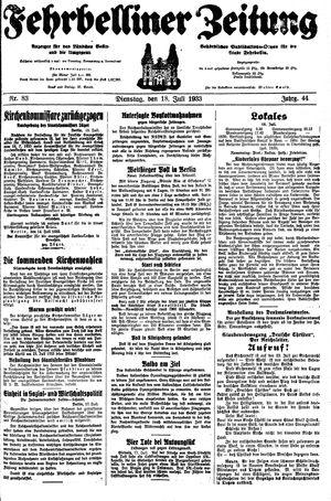 Fehrbelliner Zeitung vom 18.07.1933