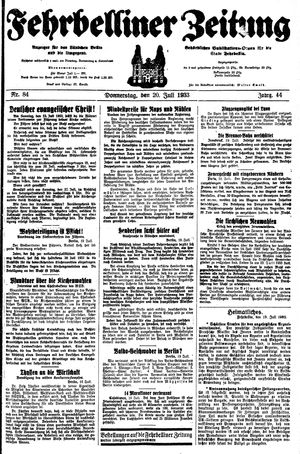 Fehrbelliner Zeitung vom 20.07.1933