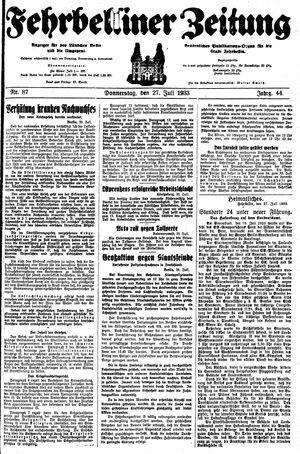 Fehrbelliner Zeitung vom 27.07.1933
