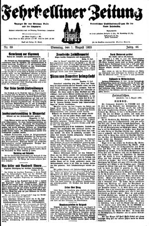 Fehrbelliner Zeitung vom 01.08.1933