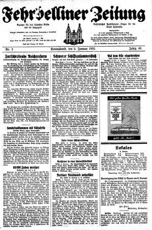 Fehrbelliner Zeitung vom 05.01.1935