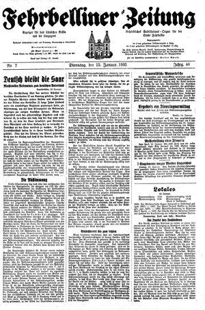 Fehrbelliner Zeitung vom 15.01.1935