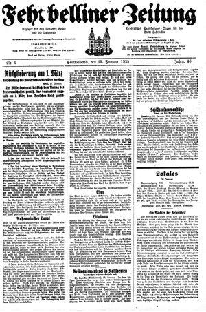Fehrbelliner Zeitung vom 19.01.1935