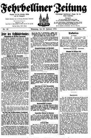 Fehrbelliner Zeitung vom 22.01.1935