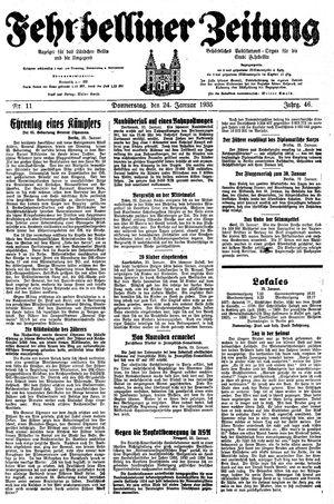 Fehrbelliner Zeitung vom 24.01.1935