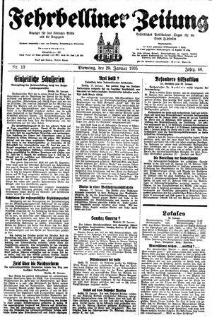 Fehrbelliner Zeitung vom 29.01.1935