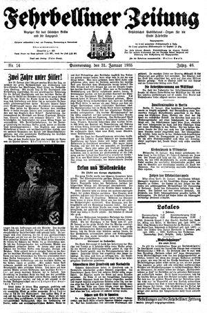 Fehrbelliner Zeitung vom 31.01.1935