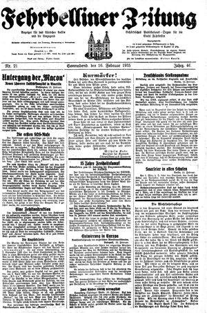 Fehrbelliner Zeitung vom 16.02.1935