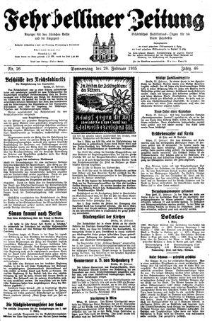 Fehrbelliner Zeitung vom 28.02.1935