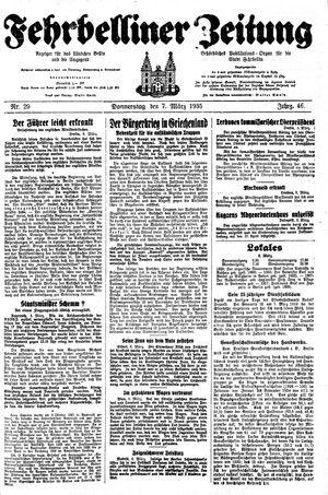 Fehrbelliner Zeitung vom 07.03.1935