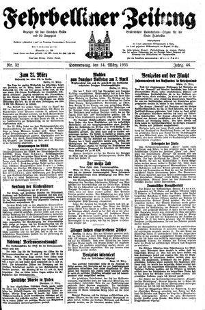 Fehrbelliner Zeitung vom 14.03.1935