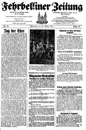 Fehrbelliner Zeitung vom 19.03.1935