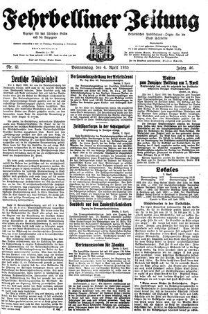 Fehrbelliner Zeitung vom 04.04.1935