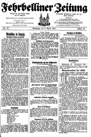 Fehrbelliner Zeitung vom 09.04.1935
