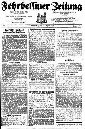 Fehrbelliner Zeitung vom 11.04.1935