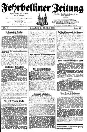 Fehrbelliner Zeitung vom 13.04.1935