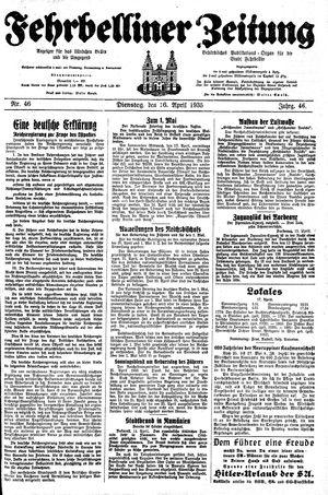 Fehrbelliner Zeitung vom 16.04.1935